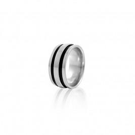 Кольцо стальное мужское с вырезанными прямоугольными полосами черного цвета