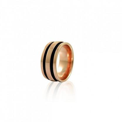 Кольцо стальное женское с вырезанными черными полосами, покрытие розовое золото