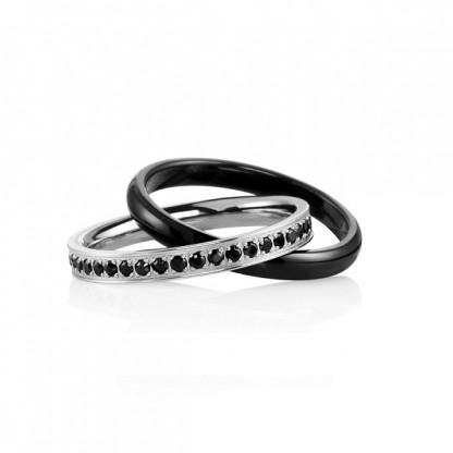 Кольцо двойное из стали с гагатом