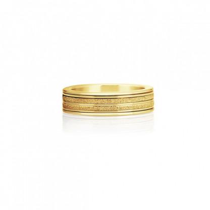 """Кольцо из стали с золотым PVD и алмазным напылением, коллекция """"Сияние"""""""