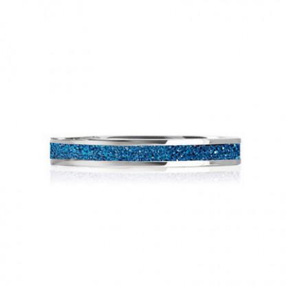 Кольцо стальное с  PVD покрытием синего цвета
