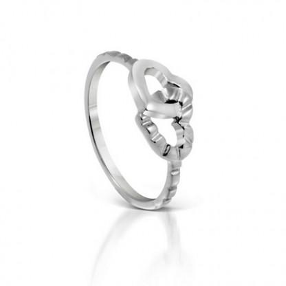 """Кольцо стальное в форме двух соединенных сердец, коллекция """"Капелька сердца"""""""