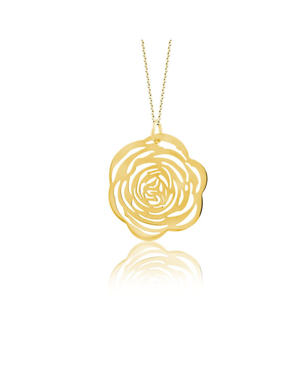 Кулон стальной ажурный Роза, золотое покрытие