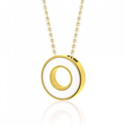 Кулон круглый стальной с отверстием по центру, белая эмаль INORI