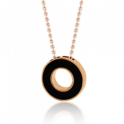 Кулон круглый стальной с отверстием по центру, чёрная эмаль INORI