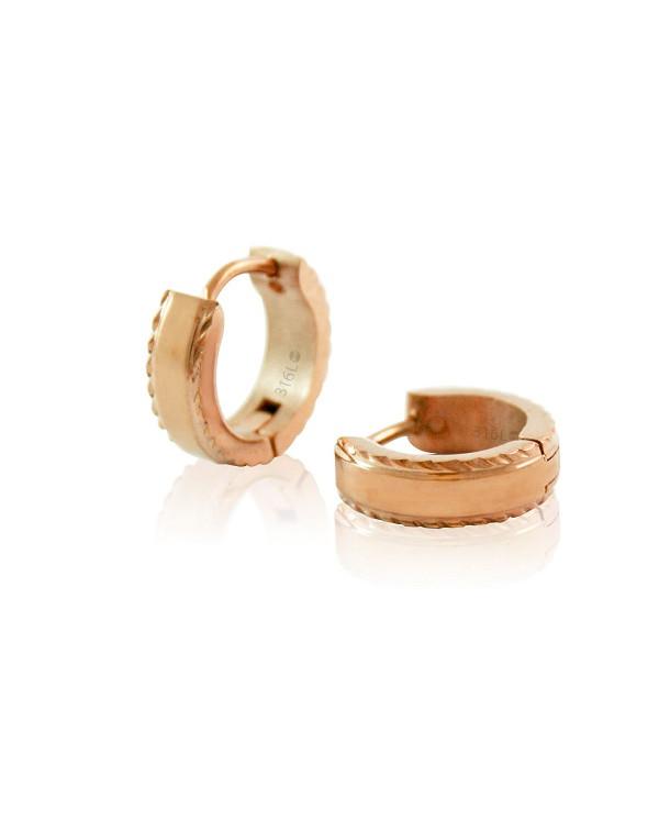 Серьги конго стальные, покрытие розовое золото