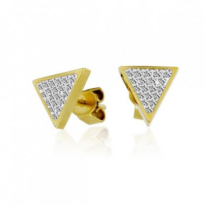 """Серьги-гвоздики """"Треугольник"""" из стали, с фианитами и золотым покрытием"""