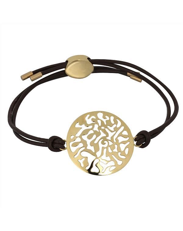 Браслет кожаный, регулируемая длина, стальной декорированный резной элемент, pvd лимонное золото