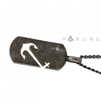 Кулон бирка с прорезью в виде якоря, цвет Antique Silver