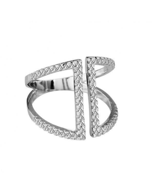 Кольцо серебряное резное с прозрачными фианитами