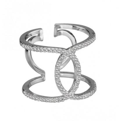 Кольцо серебряное резное D&G с прозрачными фианитами