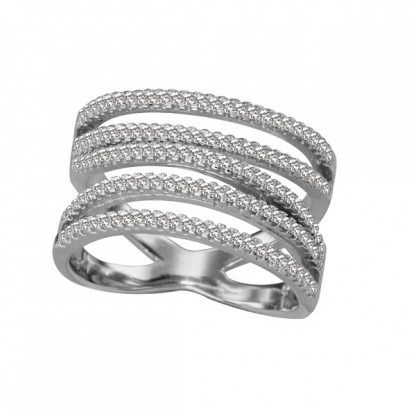 Кольцо серебряное резное с пятью линиями-основами, фианитами