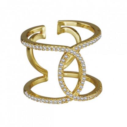 Кольцо серебряное резное D&G с прозрачными фианитами, золотое покрытие