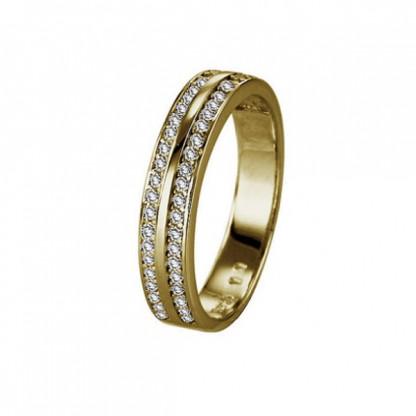 Кольцо серебряное с двумя полосками фианитов, серебро 925 пр, золотое pvd