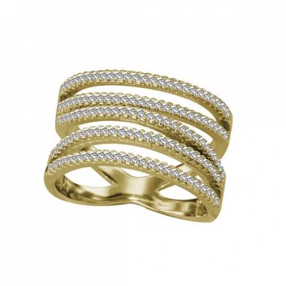 Кольцо серебряное резное с пятью линиями-основами, фианитами, золотое pvd