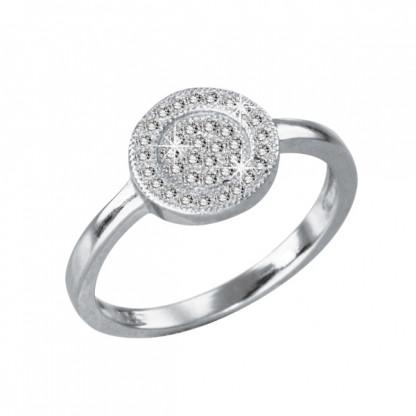 Кольцо серебряное с плоским круглым элементом, прозрачные фианиты