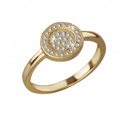Кольцо серебряное с плоским круглым элементом и фианитами, золотое покрытие