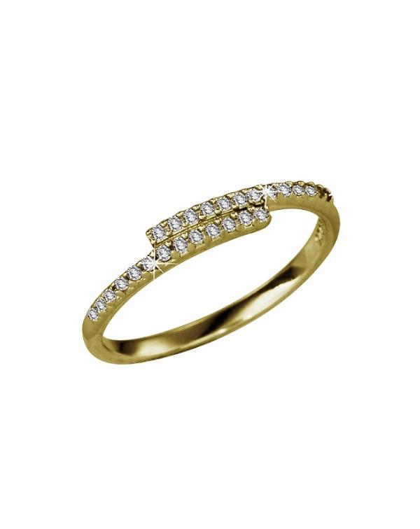 Кольцо серебряное внахлест с двумя полосками фианитов, серебро 925 пр, золотое покрытие