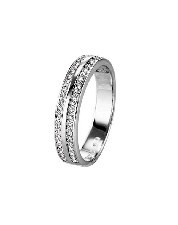 Кольцо серебряное с двумя полосками фианитов, серебро 925 пр