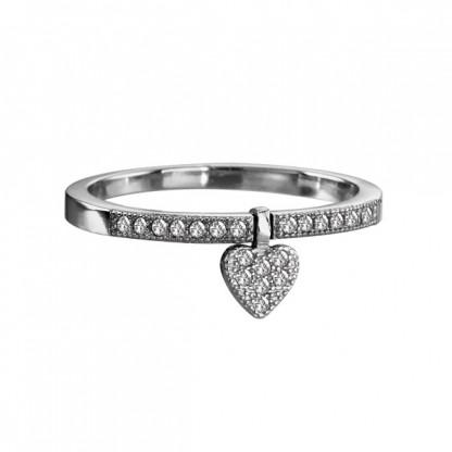 Кольцо серебряное с подвеской сердечком и прозрачными фианитами, серебро 925 пр