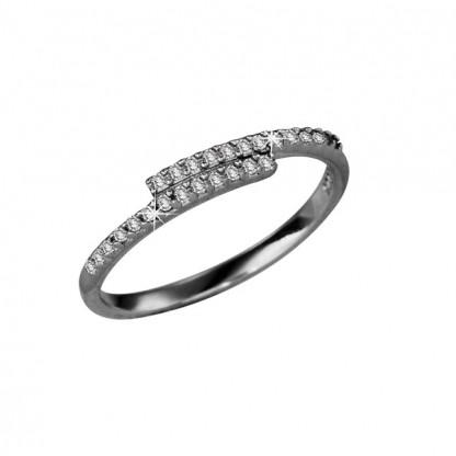 Кольцо серебряное внахлест с двумя полосками фианитов, серебро 925 пр
