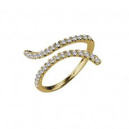 Кольцо-змейка серебряное с фианитами с золотым покрытие
