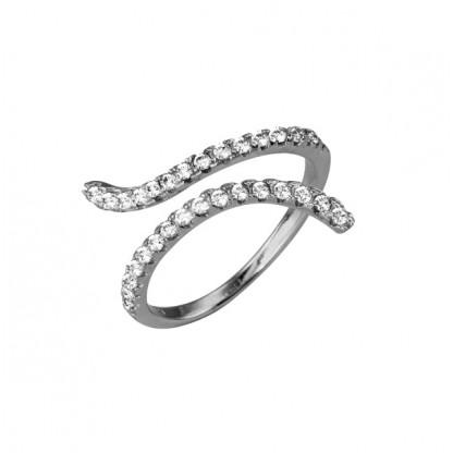 Кольцо-змейка серебряное с фианитами
