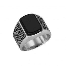 Кольцо-печатка серебряное мужское с натуральным гагатом
