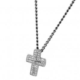 Кулон крестик, серебро 925 пробы, прозрачные фианиты