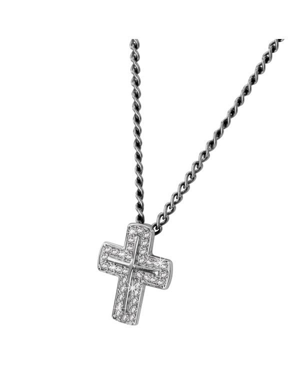 Кулон крестик, серебр...