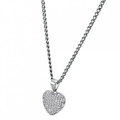Кулон сердце, серебро 925 пробы, прозрачные фианиты
