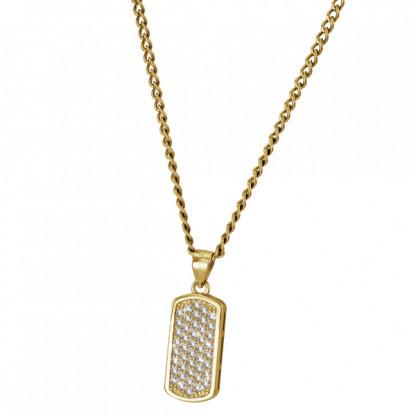 Кулон-бирка серебряный с фианитами, 925 проба, золотое покрытие
