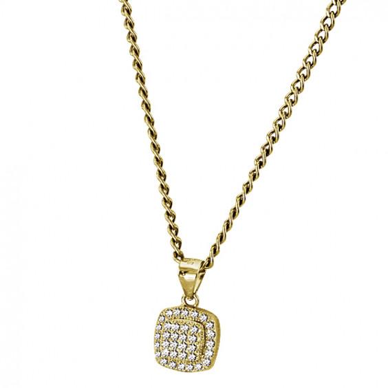 Кулон серебряный квадратной формы с прозрачными цирконами, золотое покрытие