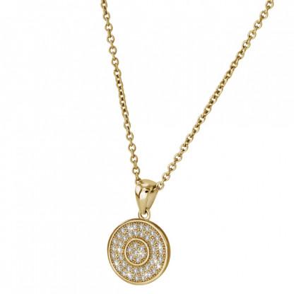 Кулон серебряный круглой плоской формы c цирконами и золотым pvd