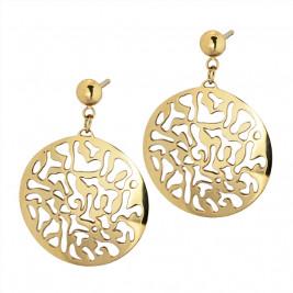 Серьги-гвоздики с круглой подвеской, pvd лимонное золото