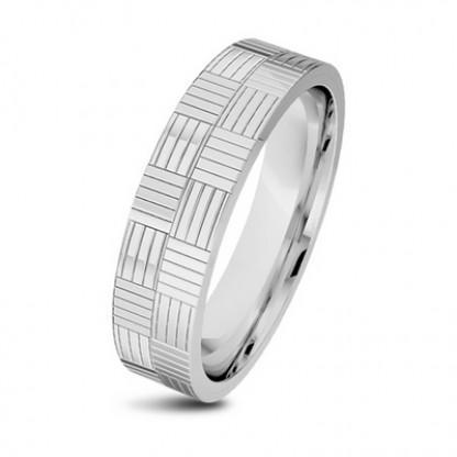 Кольцо стальное с клетчатым орнаментом