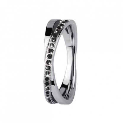 Кольцо из стали с натуральными камнями чёрного янтаря