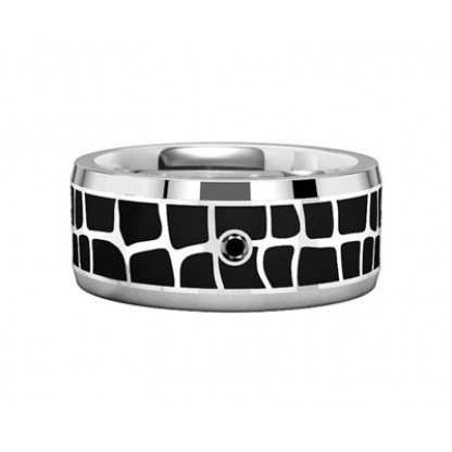"""Кольцо стальное с черным фианитом, эпоксид черного цвета, коллекция """"Тайна"""""""