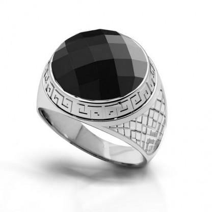 Перстень стальной с египетским орнаментом и крупным фианитом