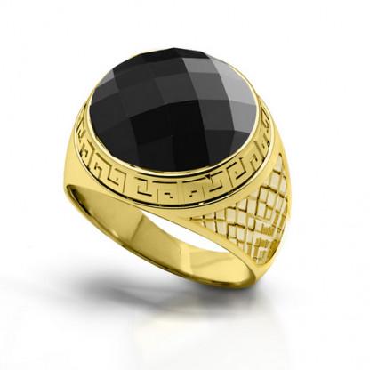 Перстень стальной с египетским орнаментом и крупным фианитом, золотое PVD