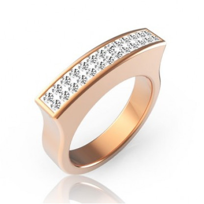 Кольцо стальное необычной формы с прозрачными фианитами и pvd покрытием розового золота