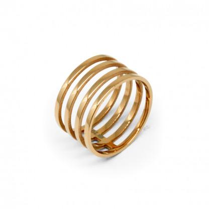 Кольцо стальное в форме пружины, цвет розовое золото