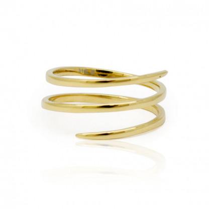 """Кольцо стальное """"Спираль"""", покрытие золото 14К, коллекция Infinity"""
