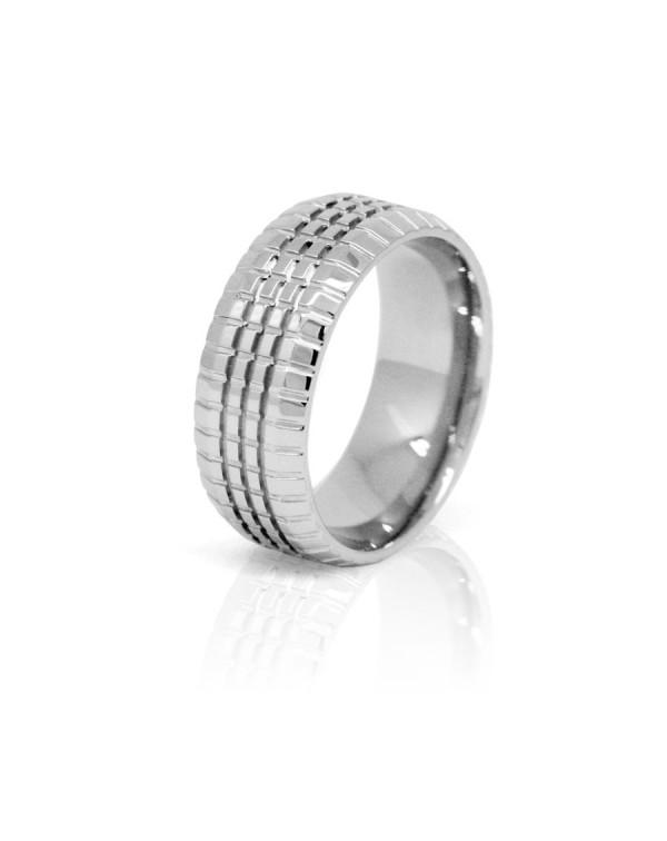 Кольцо стальное унисекс с ребристой поверхностью