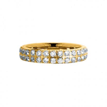 """Кольцо стальное с золотым PVD покрытием и фианитами в 2 ряда, коллекция """"Совершенство"""""""