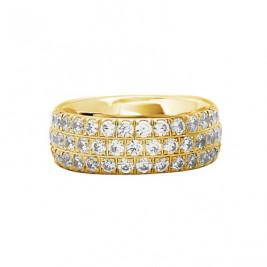"""Кольцо стальное с золотым PVD покрытием и фианитами в 3 ряда, коллекция """"Совершенство"""""""