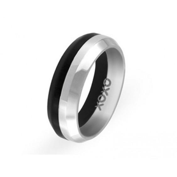 """Кольцо черно-стального цвета, с внутренней стороны надпись """"хохо"""", коллекция """"Две половинки"""""""
