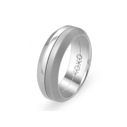 """Кольцо стальное с матовой и блестящей поверхностью, крутящееся, коллекция """"Две половинки"""""""