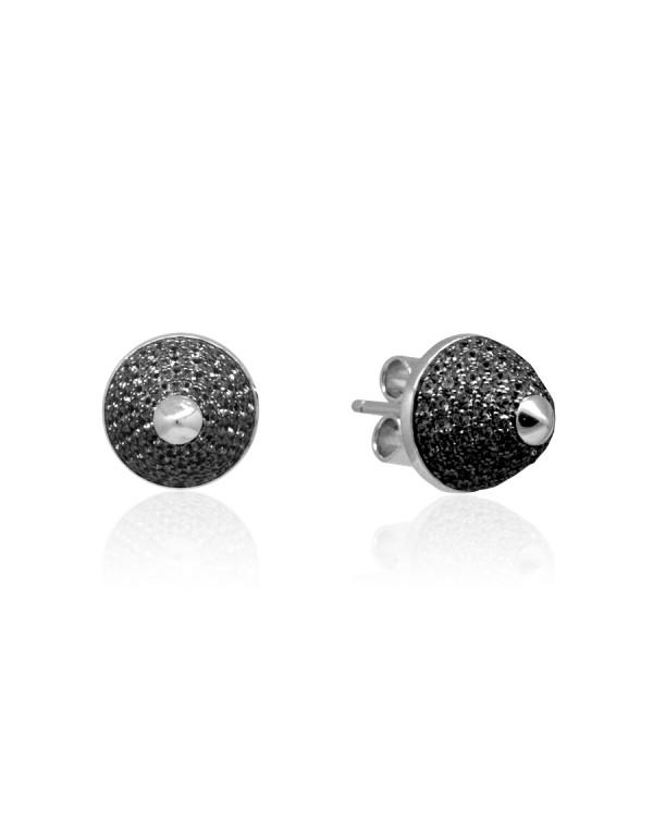 Серьги-пусеты серебряные с кубическими цирконами черного цвета, серебро 925 пробы
