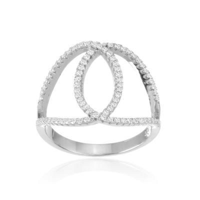 Кольцо с петельками, серебро 925 пробы